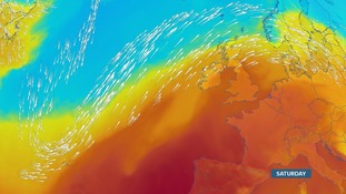 The UK is positioned to the south of the jet stream in the warm air