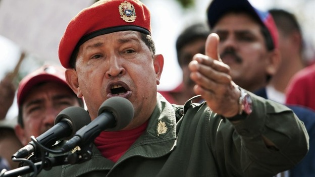 Hugo Chavez talks to supporters during a ceremony in 2010.