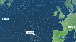 The expected location of Ophelia on Sunday.