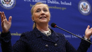 US Secretary of State Hillary Clinton in Dublin on December 6 this month.