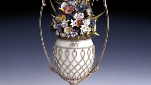 The Queen's Basket of Flowers Fabergé Egg on show at The Sainsbury Centre in Norwich.
