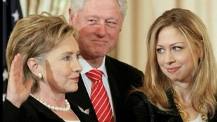Hillary Clinton with her husband Bill and daughter Chelsea in 1998, the year of her earlier blood clot.