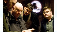 Director of photography Russell Gleeson, Director Len Collin and actors Robert Doherty and Kieran Coppinger.