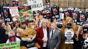 Brian May joined an anti-hunt protest outside Parliament in 2015.