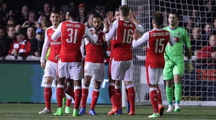Arsenal's Theo Walcott celebrates scoring his side's second goal during the FA Cup, Fifth Round match against Sutton United
