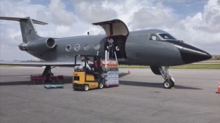 Supplies loaded onto one of five private jets sent by the Brown's family