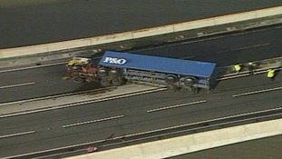A lorry was blown onto it's side on the Orwell Bridge in Suffolk.