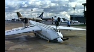 A plane was flipped onto it's back at back at Luton Airport.