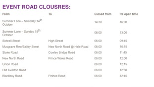 A number of roads will be closed this weekend.