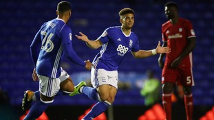 Birmingham City's Che Adams celebrates scoring against the Bluebirds.