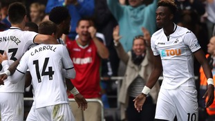 Tammy Abraham (right) celebrates scoring his side's first goal of the game.