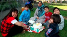 Sabah Usmani and her five children - Hira, 12, Sohaib, 11, Muneed, nine, Rayyan, six, and three-year-old Maheen.