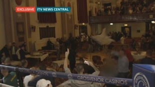 Exclusive footage shows moment tables and chairs are thrown.