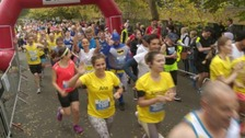 Runners had a choice of racing in a marathon or a half marathon.
