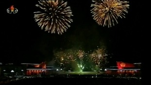 North Korea has celebrated the New Year with fireworks for the first time