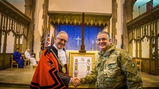 Lord Mayor, Cllr Malcolm Kennedy, with Major Anthony Gledhill from the 208 (3rd West Lancashire) Battery of the 103 Regiment Royal Artillery receiving the Freedom of Liverpool