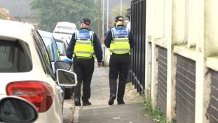 Police patrol Field Street in Kettering on Sunday