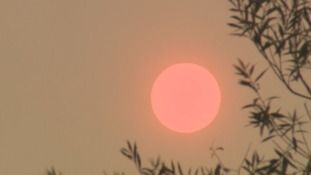 A red sun this afternoon over Teesside.