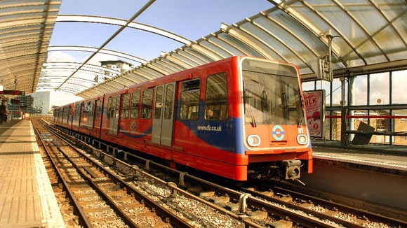 The Docklands light railway in East London.