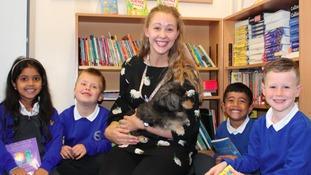 Poppy the dog with children