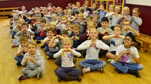 The children had a non-uniform day to raise more money for the cause.