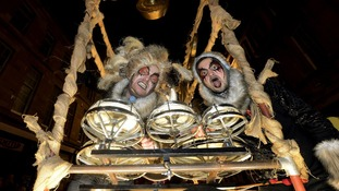 "Revellers in their ""Thunder Cart"" during the New Year celebration parade through Newcastle city centre"