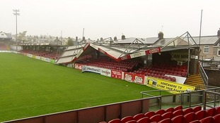 The roof of a stand at Cork's Turners Cross stadium fell in.