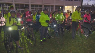 Hundreds of cyclists pay tribute to woman who died on busy road