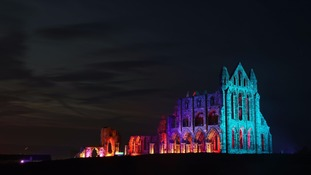 Whitby Abbey in North Yorkshire is lit up in lights to celebrate Halloween.