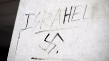 Anti-Semitic graffiti on a wall in Victoria, London.