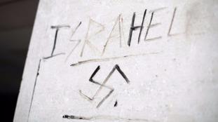 Anti-Semitic graffiti on a wall in Victoria, London.