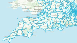 Proposed boundary changes to the South West by the BCE.