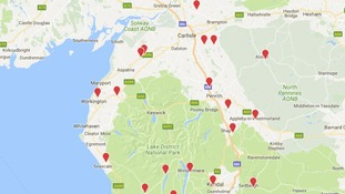 Power cuts across Cumbria