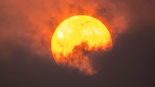 Red sun over Cilburn, Cumbria
