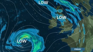 Low pressure in charge later this week.  The area to the SW could bring a stormy Saturday
