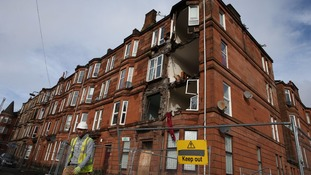 A block of flats partially collapsed in Glasgow.