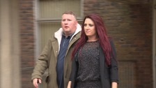 Paul Golding and Jayda Fransen leaving Sevenoaks Magistrates Court