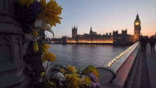 Tributes were left on Westminster Bridge.