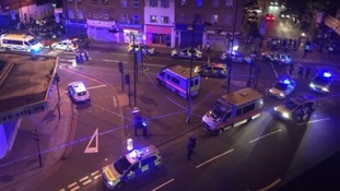 Police at the scene of the Finsbury Park attack.