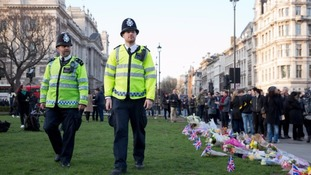 Police patrol in Westminster in the wake of the attack.