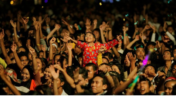 People celebrate at Burma's first public New Year countdown celebration
