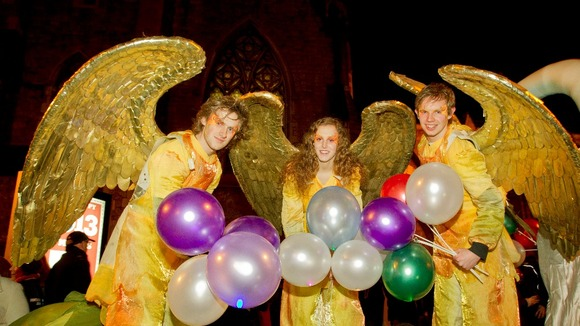 Angels welcome the New Year in Dublin