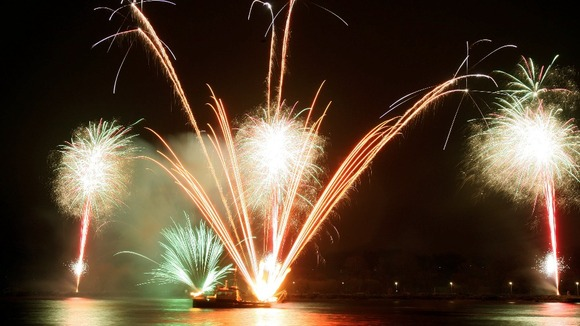 Fireworks over the Peace bridge in Derry, as the city celebrates becoming 2013 UK city of culture