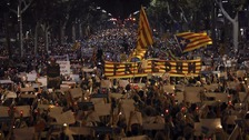 Demonstrators flooded a main street in Barcelona