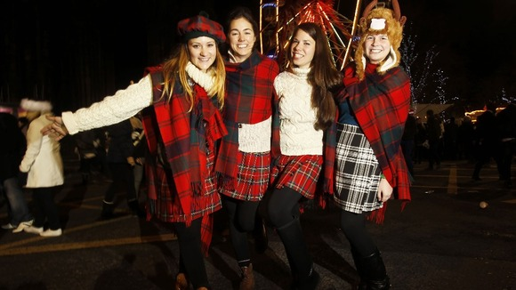 Nadine Pober, Flora Baker, Kirsten Alana and Amanda Williams enjoy Hogmanay in Edinburgh