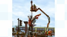 Meccano Liver Bird lands in Liverpool