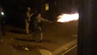 Firework thrown at London bus as frightened passengers flee