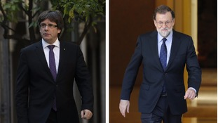 Carles Puigdemont (l) and Mariano Rajoy (r).
