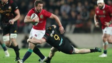 British and Irish Lions' Greig Laidlaw is tackled by Chiefs' Finlay Christie
