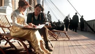 Leonardo Di Caprio and Kate Winslet in a scene from the film Titanic
